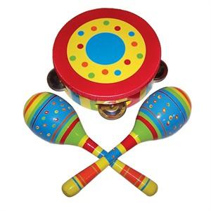 Child Wooden Instrument Set - 3 Piece - Stripe Design
