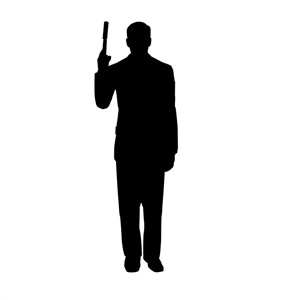 Secret Agent Spy With Gun Silhouette Cardboard Cutout