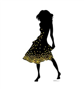 Silhouette Dancer Yellow Sparkles Cardboard Cutout