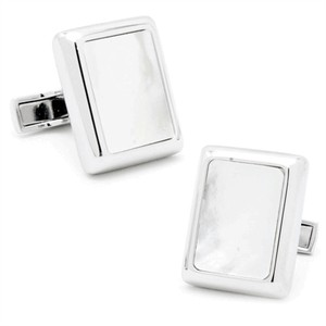 Silver and Mother of Pearl JFK Presidential Cufflinks