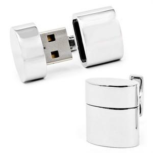 Silver Oval 4 GB USB Flash Drive Cufflinks