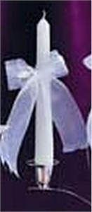 Satin & Organza Bow Collection Candle Tapers with Organza Bow