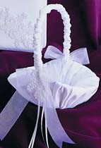 Satin Pearl & Lace Collection Flower Girl Basket