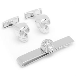 Skull Cufflinks and Tie Bar Gift Set