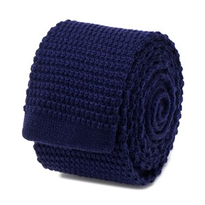 Solid Navy Wool Knit Tie