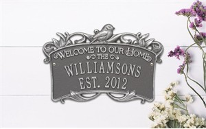 Personalized Songbird Welcome Plaque