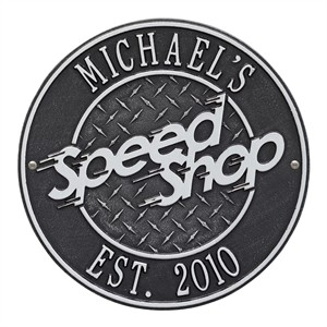 Personalized Speed Shop Plaque