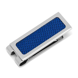 Stainless Steel Blue Carbon Fiber Inlaid Money Clip