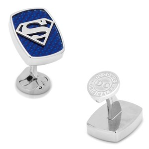 Stainless Steel Carbon Fiber Superman Cufflinks