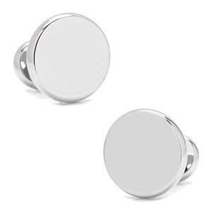 Stainless Steel Engravable Classic Round Cufflinks