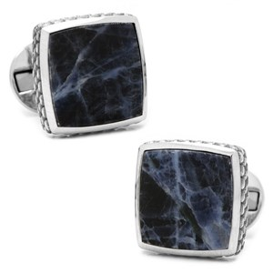Sterling Classic Scaled Lapis Cufflinks