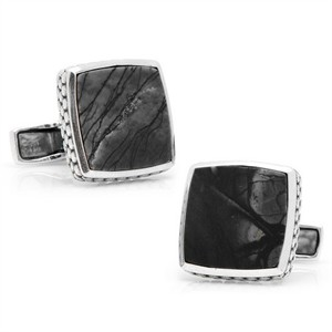 Sterling Classic Scaled Picasso Stone Cufflinks