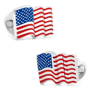 Sterling Silver Waving American Flag Cufflinks