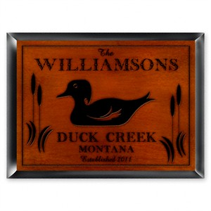 Traditional Personalized Cabin Sign - Wood Duck