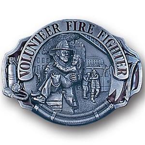 Volunteer Fire Fighter Enameled Belt Buckle
