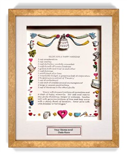 Recipe for a Happy Marriage Gift Frame