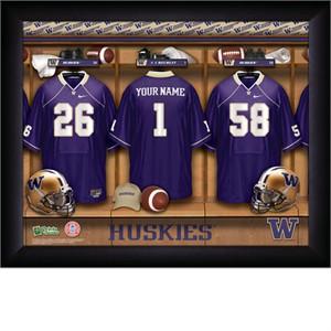 Personalized Washington Huskies College Football Locker Room Print
