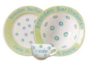 Personalized Baby Dot Dishware - Sweet Pea Green Cup, Bowl & Plate Set