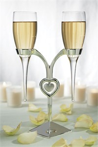 Clear Glass Personalized Wedding Flutes with Silver Plated Stand