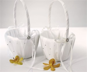 Scattered Pearls and Crystals Flower Girl Basket