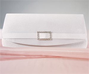White Satin Crystal Buckle Wedding Evening Bag