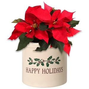 Happy Holidays Holly 2 Gallon Stoneware Crock
