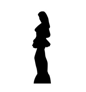 Woman Side Profile Silhouette Cardboard Cutout