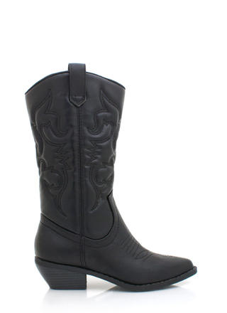Stitched Design Cowgirl Boots