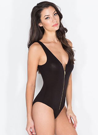 Basically Exposed Zipper Bodysuit