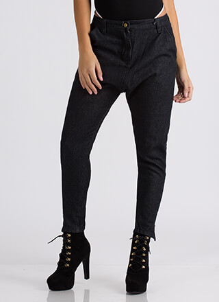 Drop The Beat Zippered Boyfriend Jeans