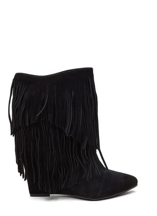 Fringe On Fringe Faux Suede Boots