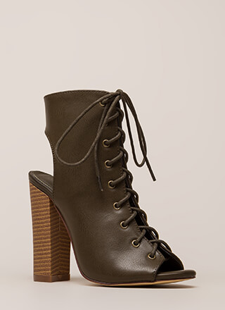 Back It Up Laced Cut-Out Booties
