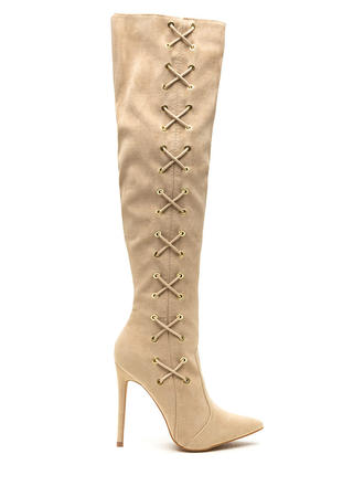 Corsets On Pointy Faux Suede Boots