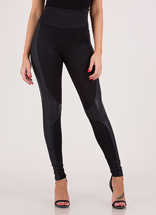 Moto Riding Coated Leggings