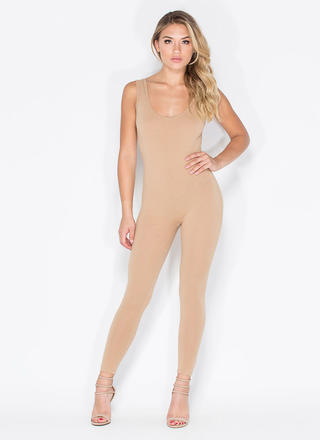 Double Scoop Sleeveless Full Bodysuit