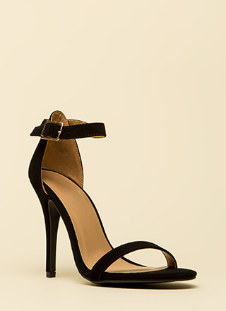 Ready To Single Strap Faux Nubuck Heels