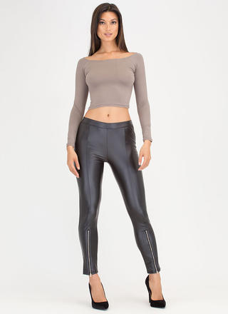 Give Two Zips Faux Leather Pants