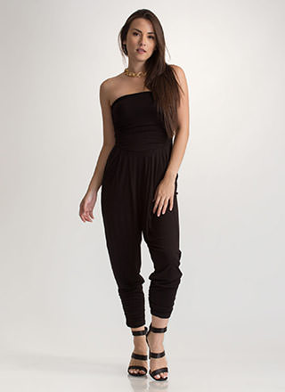 Go For It Ruched Harem Jumpsuit