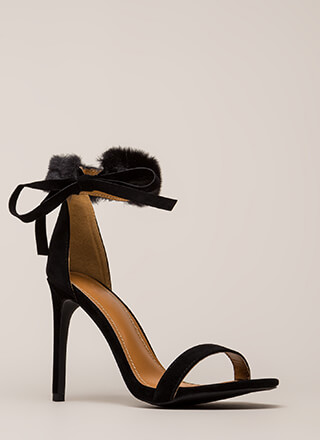 Fur Collar Faux Suede Heels