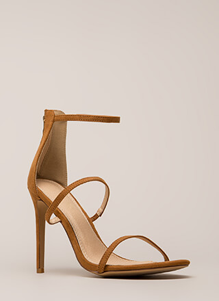 Three To One Faux Suede Strappy Heels