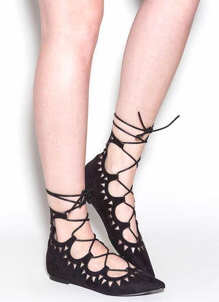 Finders Keepers Pointy Lace-Up Flats