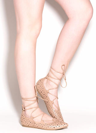 Totally Perf Lace-Up Faux Leather Flats