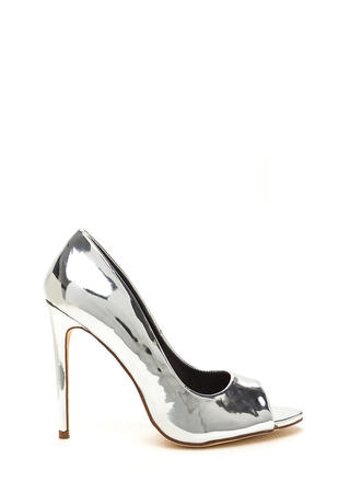 Peep Show Metallic Faux Patent Pumps