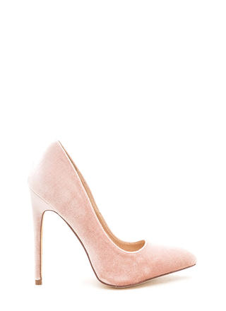 Head To Toe Pointed Velvet Pumps