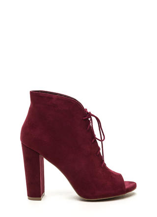 Sassy Strut Lace-Up Faux Suede Booties