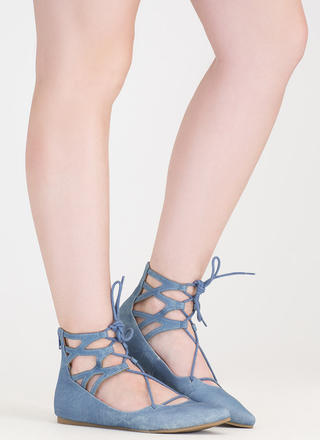 Point It Out Lace-Up Faux Denim Flats