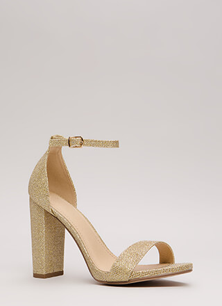 Evening To Remember Glitter Chunky Heels