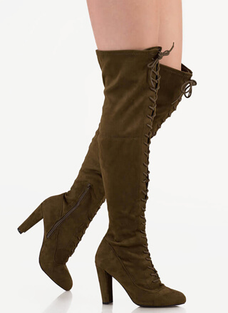 b4e08b7b03d On Corset Lace-Up Over-The-Knee Boots
