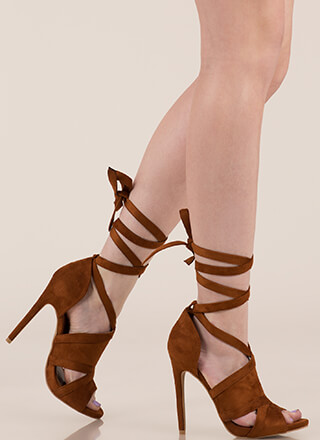 Rip Tied Faux Suede Tie-Up Heels