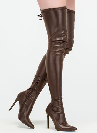 Crush Hard Faux Leather Thigh-High Boots